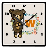 Cute Bear, Yellow Flower & Floral Wreath Monogram Square Wall Clock