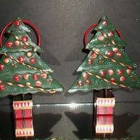 Scotts Collectibles of Distinction Christmas Tree Napkin Rings Dashing Through The Snow Holiday Dining Entertaining