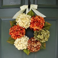 Summer Hydrangea Wreath - Door Wreath Summer - Front Door Wreath - Door Wreath - Wreaths - Summer Wreath - Includes Free Wreath Hanger