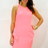 (anv) Neon pink fitted dress