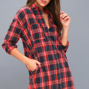 Cypress Navy Blue and Red Plaid Flannel Shirt Dress