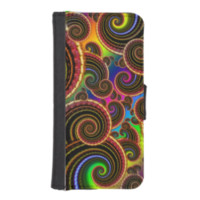 Funky Rainbow Swirl Fractal Art Pattern iPhone 5 Wallet