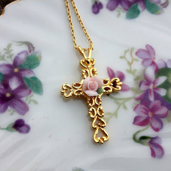 Avon Cross necklace with pink rose cabochon in gold tone heart filagree Vintage cross necklace Avon coss necklace shabby chic cross