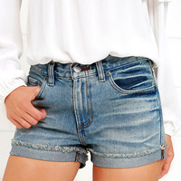 RVCA Wanderist Medium Wash Denim Shorts