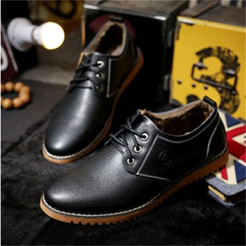Pile Lined Modern Leather Oxford Shoes