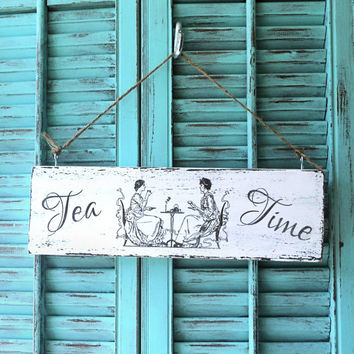 Wood Sign Tea Party Shabby Chic Ladies Friends Sipping Tea Cups Wall Hanging Home Decor