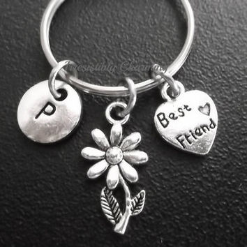 Sale.... Small sunflower, best friends keyring, keychain, bag charm, purse charm, monogram personalized custom gifts under 10 item No.688