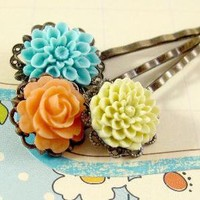 Apricot Hair Pins by MiaBeads on Etsy