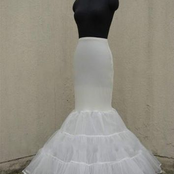 Lycra Tulle White/Black Mermaid Trumpet Style Wedding Gown Petticoat Crinoline Slip US2-US18