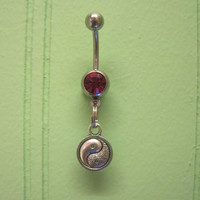 Belly Button Ring - Body Jewelry - Ying Yang with Dark Pink Gem Stone Belly Button Ring