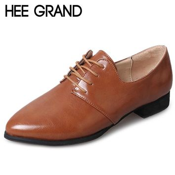 HEE GRAND Brogue Shoes Woman Lace-up Platform Oxfords British Style Creepers Office Lady Flats 4 Colors Plus Size 35-43 XWD6385