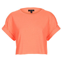 Fluro Roll Back Crop Tee - Jersey Tops - Clothing - Topshop USA
