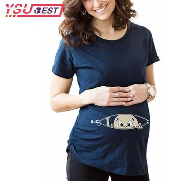 Pregnant Women T-shirts Maternity Clothes Summer Slim Cartoon Funny Nursing Top Letters O-Neck Pregnancy Long Tee Shirts