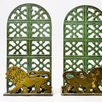 Brass Lion Green Verdigris Vintage Bookends for a Desktop or Bookshelp or Tabletop Modern w/ Old Felt Pads on Base Library Book Holder