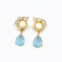 Seashell and Blue Drop Faux Gem Stone Earrings