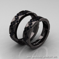 Classic Armenian 14K Black Gold Black Diamond Wedding Band Set R504BS-14KBGBD