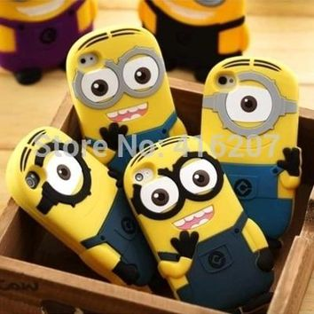 Fashional 3D cute cartoon Soft Rubber silicon Yellow Minion Case Cover for iphone Case for iphone 7 8 Plus 6 6s 5s 5 4 4S