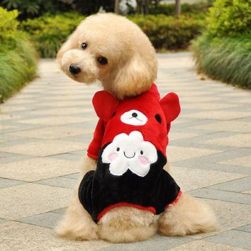 CREY6F Hot Soft Warm Dog Clothes Fleece Winter Pet Coat Minions Dogs Costume Puppy Clothing Jacket Teddy Hoodie Coat