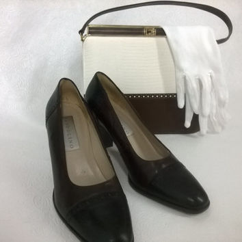 Bandolino Leather Pumps made in Brazil, 8M Beautiful Vintage Brown and Black Heels