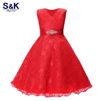 2017Summer Girls Dress Children's Clothing Party Princess Baby Kids Girls Clothing Wedding Dresses Prom Dress Teen CostumeXQ-169