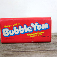 vintage red Bubble Yum bubble gum money bank