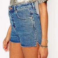 ASOS Denim Ultra High Waisted Side Split Short in Midwash Blue