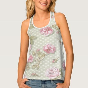 Shabby chic polka dots and flowers women tank top