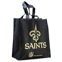 NFL New Orleans Saints Printed Non-Woven Polypropylene Reusable Grocery Tote Bag, Black