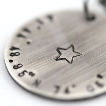 Latitude and Longitude location necklace, Sterling Silver necklace, Oxidized jewelry, Custom location, Custom necklace