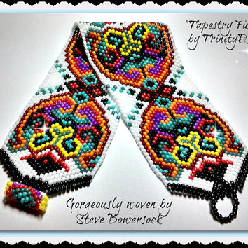 BP-FUN-041 2015 - 52-Tapestry Fun-Peyote Stitch Beadwork Pattern,jewelry,beadweaving tutorial,beaded bracelet,Miyuki Round Rocailles version