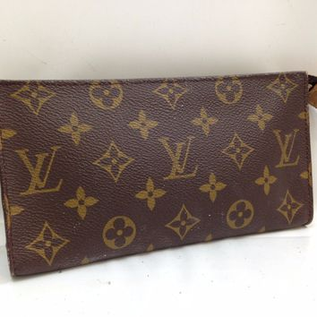 Auth Louis Vuitton Monogram Pouch Cosmetic Bag Brown 8B090070F