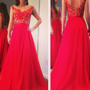 Red Applique Zipper A-Line Prom Dresses