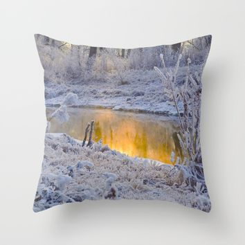 It's Gold Outside Throw Pillow by Mixed Imagery