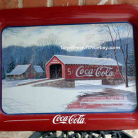 Vintage Coca-Cola Serving Tray Winter Bridge  by Jim Harrison