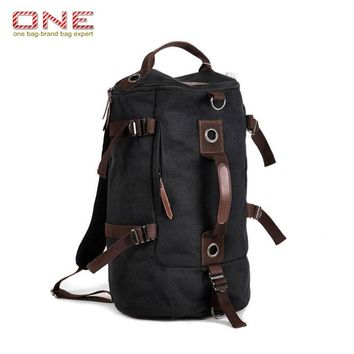 2016 Hot Large capacity man travel bag luggage backpack canvas bucket shoulder bag PT708