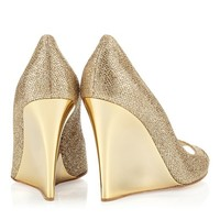 Gold Glitter Fabric Peep Toe Wedges| Bello| JIMMY CHOO Shoes