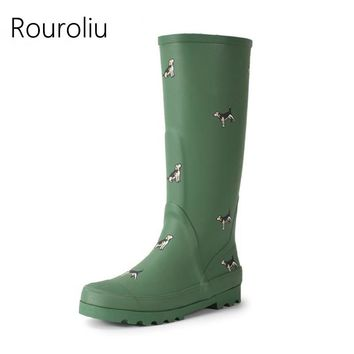 Brand New Women Fashion Rubber Rain Boots Anti-slip Animals Print Rainboots Knee-high Woman Water Shoes Wellies Boots TS176