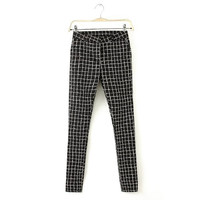 KZ539 New Fashion women's Elegant plaid print pencil pants cozy trouses zipper pockets pants casual slim brand designer pants