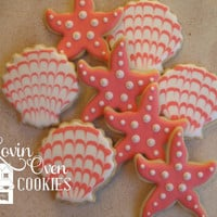 1 Doz Starfish and Sea Shell Decorated Sugar Cookies - Coral Wedding Favor - Beach Theme - Birthday Party