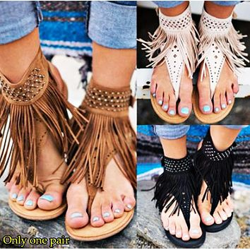 Fashion Hot Sales of Liushu Lou-toe Water Drill Herringbone Flat-soled Sandals Women's Shoes Only one pair