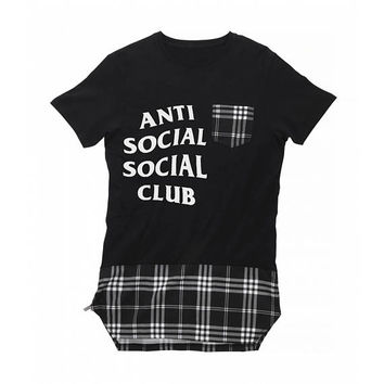 Anti Social Social Club T-shirt, Long Length Tartan T-shirt, Long Anti Social Social Club T-shirt