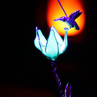 "Tiny Hummingbird standing on flower ""GLOW in the DARK"""