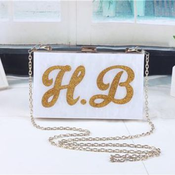 2016 Famous Acrylic Letter Women Ladies Day Clutches Fashion England Style Handbag Evening Bag Shoulder bag Wedding Party Bags