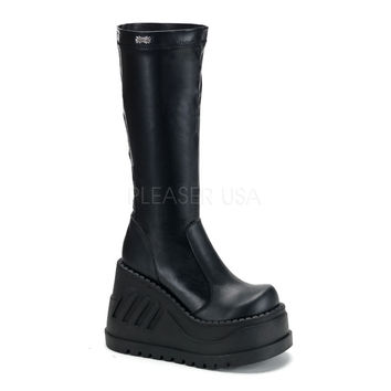 "Demonia Stomp 300 Black Smooth Mid Calf 5"" Platform Gothic Boot Size 11"