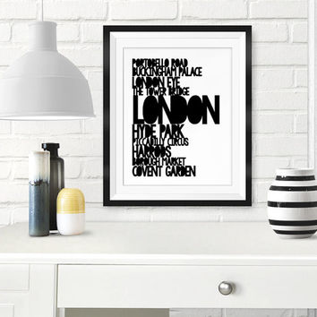 London typography, Printable artwork, London art print, Travel poster, London poster, Black white, Typography wall art, 8x10, 11x14, 16x20