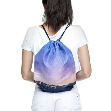 The Galaxy & The Stars Purple Drawstring Bag Backpack
