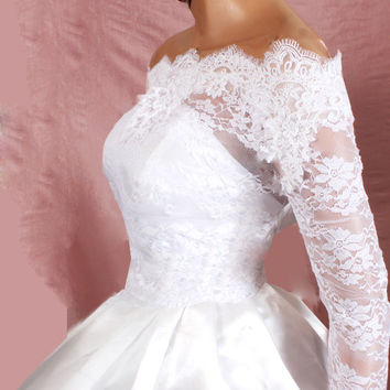 Plus Size   Bridal  Off-Shoulder / Lace wedding jacket/ Bolero shrug/  jacket /bridal lace top