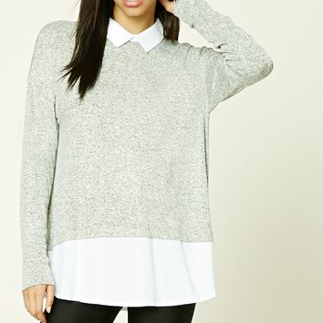Collared Marled Knit Top