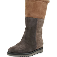 Aquatalia Paulina Fur-Lined Patchwork Tall Boot, Graphite/Combo