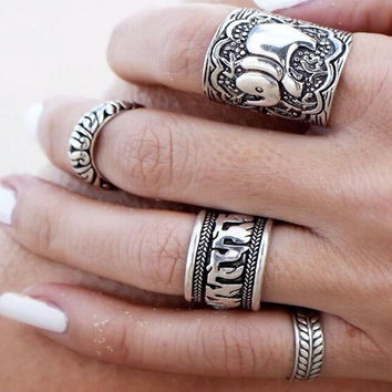 Alloy Vintage Retro Silver Plated Elephant Joint Knuckle Nail Ring Set, Pack of 4
